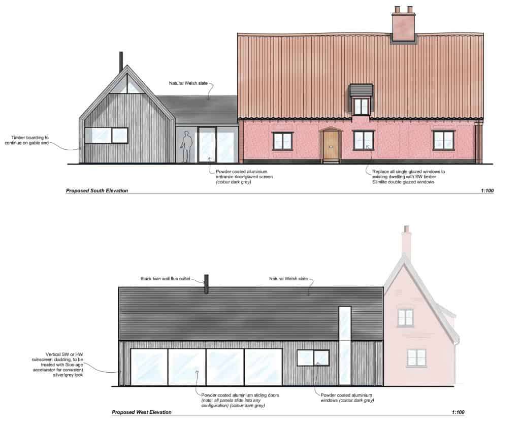 South and West Elevs-Hall Farm Cottage